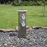 Edelstahl Steckdosensäule für den Garten 4 Fach Energiesäule Gartensteckdose Aussensteckdose