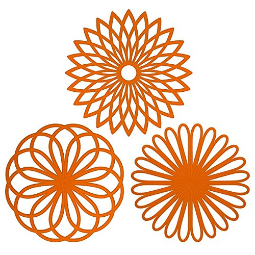 ME.FAN 3 Set Silicone Multi-Use Flower Trivet Mat - Premium Quality Insulated Flexible Durable Non Slip Coasters Hot Pads Orange