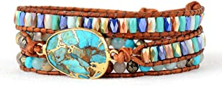 Mix Natural Stones Crystals Multilayer Leather Rope Wrap Bracelet Women Gifts