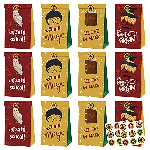 12pcs Harry Potter Party Gift Bag Bolsas de dulces de cumpleaños Bolsa de papel reutilizable Kids Party Cajas para suministros de fiesta de cumpleaños temáticos Regalar para niños