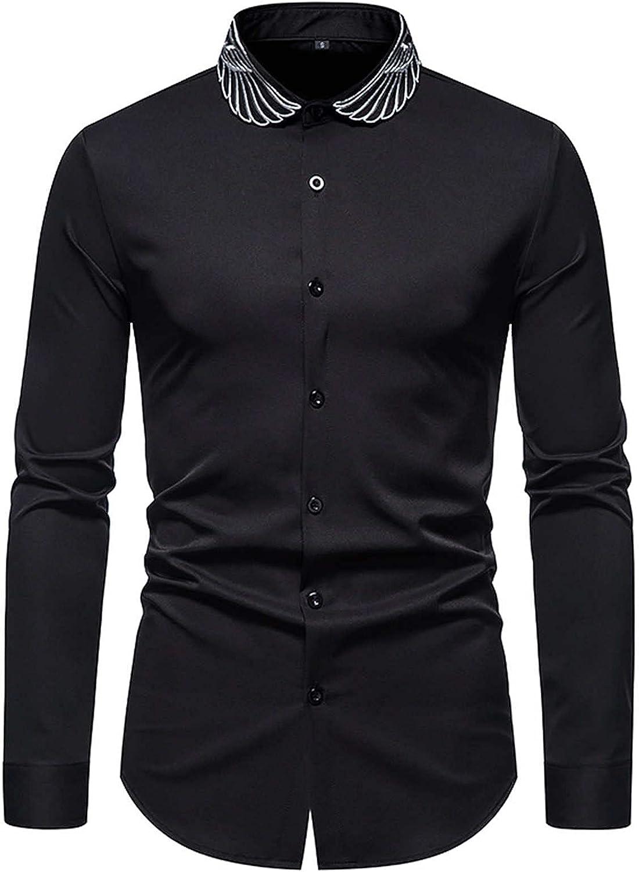 Men's Dress Shirts Slim Fit Long-Sleeve Shirt Business Casual Shirt Mens Solid Dress Shirt Formal Shirt Wrinkle Free