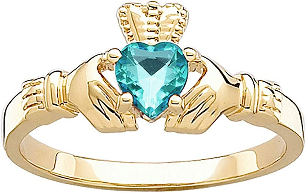 Custom Ranking TOP15 Personalization Solutns Claddagh Ring Birthstone Max 76% OFF Ver Gold