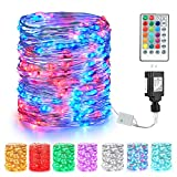 BrizLabs Fairy String Lights, 66ft 200 LED Color Changing Fairy Lights with Remote, Dual Color Red Blue July 4th Plug in Twinkle Lights, RGB Light String for Independence Day Halloween Christmas Decor