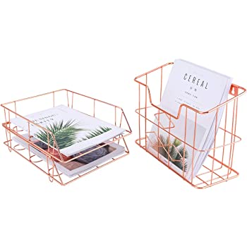 PAG Rose Gold Office Supplies Desk Organizer Set, Includes 1pc Hanging Wall File Holder and 2pcs Stackable Letter Trays
