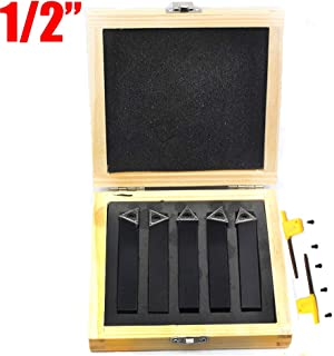 OSCARBIDE 1/2 inch Mini Indexable Carbide Lathe Turning Tool Holder Lathe Bit Set with Carbide Inserts TCMT090204, 5 Pieces
