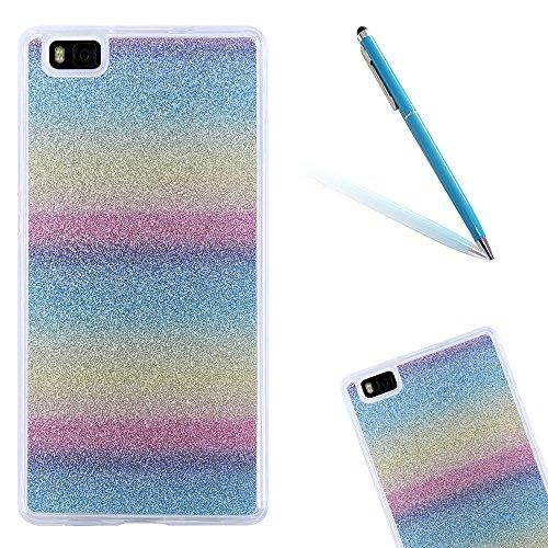 CLTPY Custodia Huawei P8 Lite, Cover in Silicone Soft Trasparente Copertura con Bling Lustrino Caso per Huawei ALE-L21 + 1x Stilo - Rainbow
