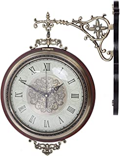 両面時計 ステーションクロック 静音 壁掛け時計 掛け時計 壁時計 ウォールクロック レトロ ビンテージ アンティーク 部屋飾り インテリア 北欧
