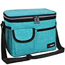 OPUX Insulated Lunch Box for Men Women, Leakproof Thermal Lunch Bag Cooler Work Office School, Soft Reusable Lunch Tote Shoulder Strap, Adult Kid Lunch Pail, 14 Cans, Turquoise Blue