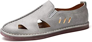 SHENTIANWEI Summer Outdoor Sandals for Men Beach Water Shoes Slip on Microfiber Leather Elastic Bands Stitching Breathable Cutout (Color : Gray, Size : 7 UK)
