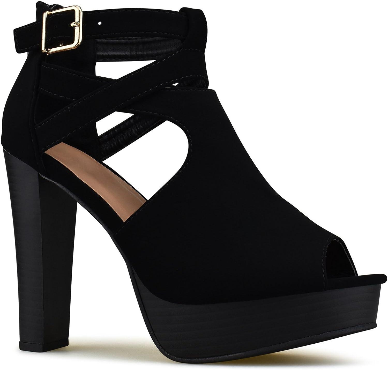 Premier Standard Damen Plateau-Knöchelriemen, High Heels, offene Zehen, Sandalen-Pumpe, formelle Party-Chunky Dress Heel  | Moderne und stilvolle Mode