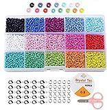 Cuentas de Colores 3mm Mini Cuentas y Abalorios Cristal para DIY Pulseras Collares Bisutería (15 Colores 7500 Piezas)