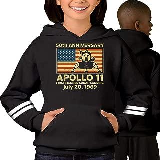 Kid's/Youth Hoodie Apollo 11 American Flag 50th Anniversary Moon Landing Boys/Girls Hooded Sweatshirt