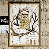 5.5x5.5in Owl Clear Stamp and Dies Set Die Cuts Metal Cutting Die for Scrapbooking Card Making
