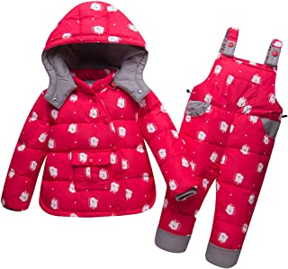 Ski Bib 2 Pcs Winter Snowsuit FREE FISHER Unisex Kids Hooded Puffer Jacket