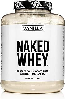 Naked Whey Vanilla Protein – All Natural Grass Fed Whey Protein Powder + Vanilla + Coconut Sugar- 5lb Bulk, GMO-Free, Soy ...