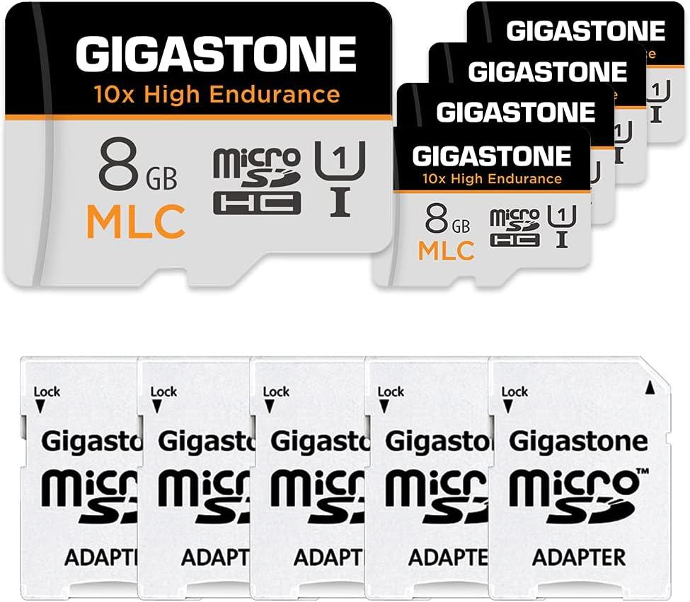 Gigastone 8GB 5-Pack MLC Micro SD Card, 10x High Endurance Full HD Video Recording, Security Cam, Dash Cam, Surveillance Compatible 85MB/s, U1 C10