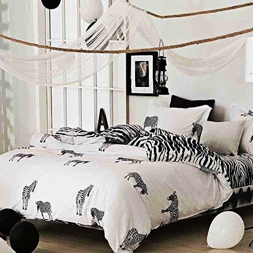 NANKO Queen Duvet Cover Set Fun Zebra, 3 Piece - 1000 TC Luxury...