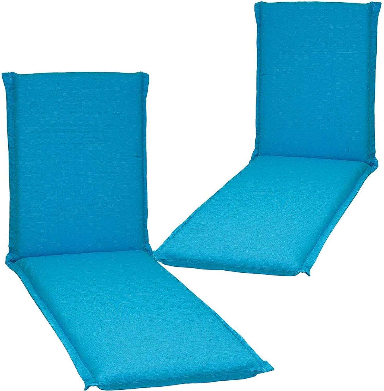Nxtbuy 2er Set Auflage für Gartenliegen Ascot Zip 195x65x8cm mit Reiverschluss - Premium Liegenauflage mit Schaumkern und abnehmbarem Bezug - Sitzpolster für Gartenliegen, Dessin Türkis
