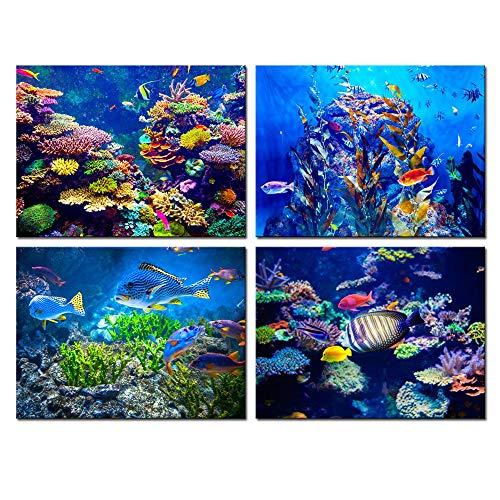 Biuteawal - 4 Panel Canvas Wall Art Ocean Bottom View Painting Beautiful Coral Fish Underwater World Picture Prints on Canvas Framed Gallery Wrapped Ready to Hang