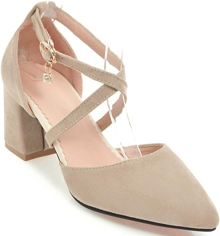 KingRover Women's Trendy D'orsay Pointed Toe High Block Heel Buckle Pumps Rhinestone Slip on Cross Strap shoes