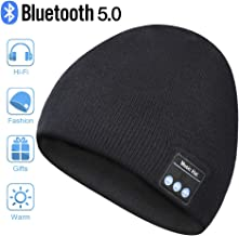 Bluetooth Beanie Hat, Wireless Headphone Beanie, Mens Gifts Womens Gifts, Winter Knitting Beanie Cap with Bluetooth Earphones, Built-in Microphone for Hand-Free Calling(Black)