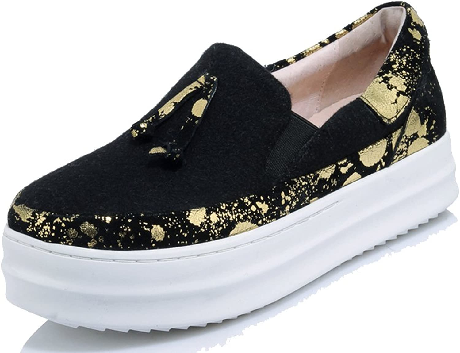 A-BUYBEA Women's Casual Platform Vegan Dress Loafer shoes with Tassels 4.5-9.5