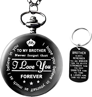 to My Brother Pocket Watch Gifts for Brother Best Gifts for Him Birthday Gifts from Sister, Graduation Gifts for Men,Engraved Pocket Watch with Gift Box for Men