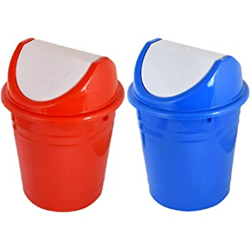 Kuber Industries Plastic 2 Pieces Medium Size Swing Lid Garbage Waste Dustbin for Home, Office, Factory, 10 Liters (Red & Blue) -CTKTC038719