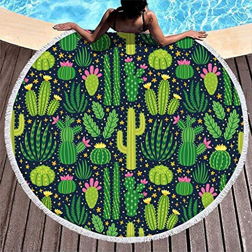 Toalla de playa redonda con diseño de cactus y plantas, de microfibra, ligera, para playa, picnic, playa, yoga, para exteriores y viajes, color blanco, 150 cm