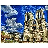 ODMKGE Ölgemälde DIY Gemälde Himmelblau Notre Dame Landschaft Leinwand Hochzeitsdekoration Geschenk Kunst Bild