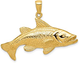 14k Yellow Gold Redfish Pendant Charm Necklace Animal Man Sea Life Fish Red Fine Jewelry Gift For Dad Mens For Him