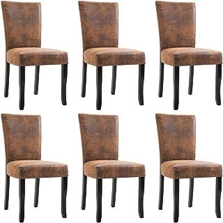 pedkit Sillas de Comedor 6 Unidades Sillas de Cocina Sillas Salon Piel de Ante Artificial Marrón 48,5 x 60 x 93 cm