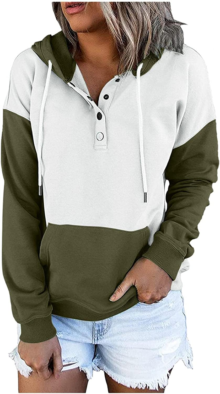 AODONG Pullover Hoodies for Women Button Down Hoodies Drawstring Hooded Pocket Casual Long Sleeve V Neck Sweatshirts