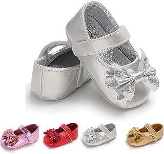 LAFEGEN Baby Girl's Mary Jane Flats Shoes Cute PU Leather Non-Slip Newborn Princess Shoes