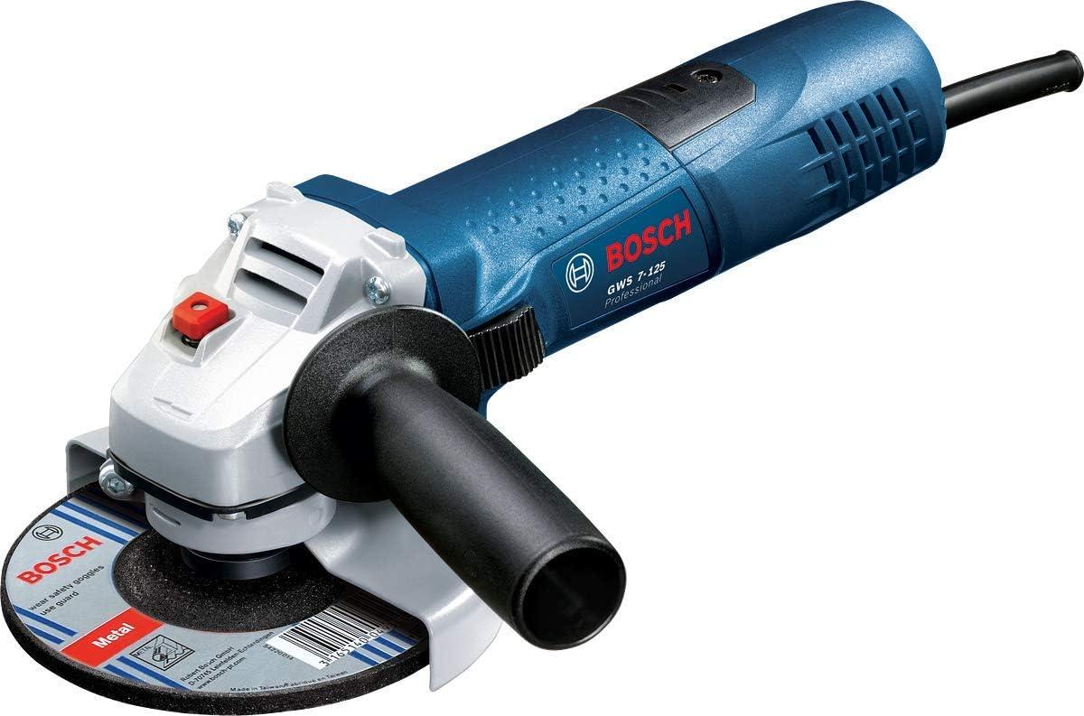 Immagine di Bosch Professional Smerigliatrice Angolare GWS 7-125, Ø Disco: 125 mm, Impugnatura aggiuntiva, Flangia di Montaggio, Dado di serraggio, Confezione in Cartone, 720 W, 230 V, Blu