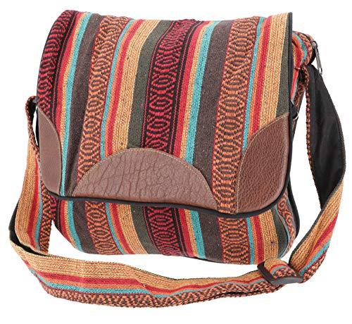 GURU SHOP Gewebte Ethno Schultertasche, Nepaltasche - Orange/braun, Herren/Damen, Baumwolle, Size:One Size, 30x32x11 cm, Alternative Umhängetasche, Handtasche aus Stoff