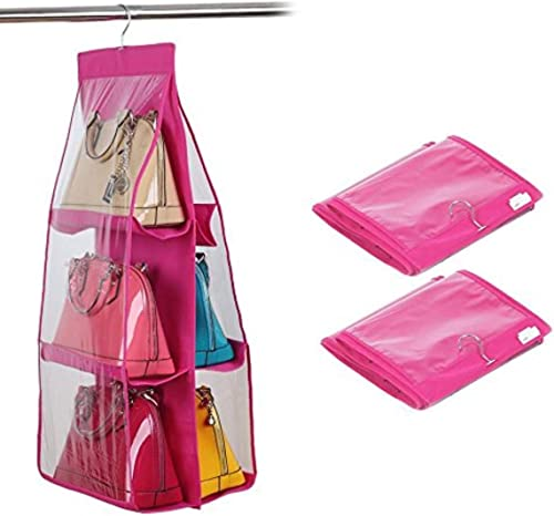 6 Pocket Large Clear Purse Handbag Hanging Storage Bag Organizer Closet Tidy Closet Organizer Wardrobe Rack Hangers Holder for Fashion Handbag Purse Pouch