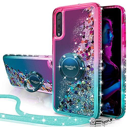 Miss Arts Funda Galaxy A70,[Silverback] Carcasa Brillante Purpurina con Soporte giratorios, Transparente Cristal Telefono Fundas Case Cover para Samsung Galaxy A70 -Verde