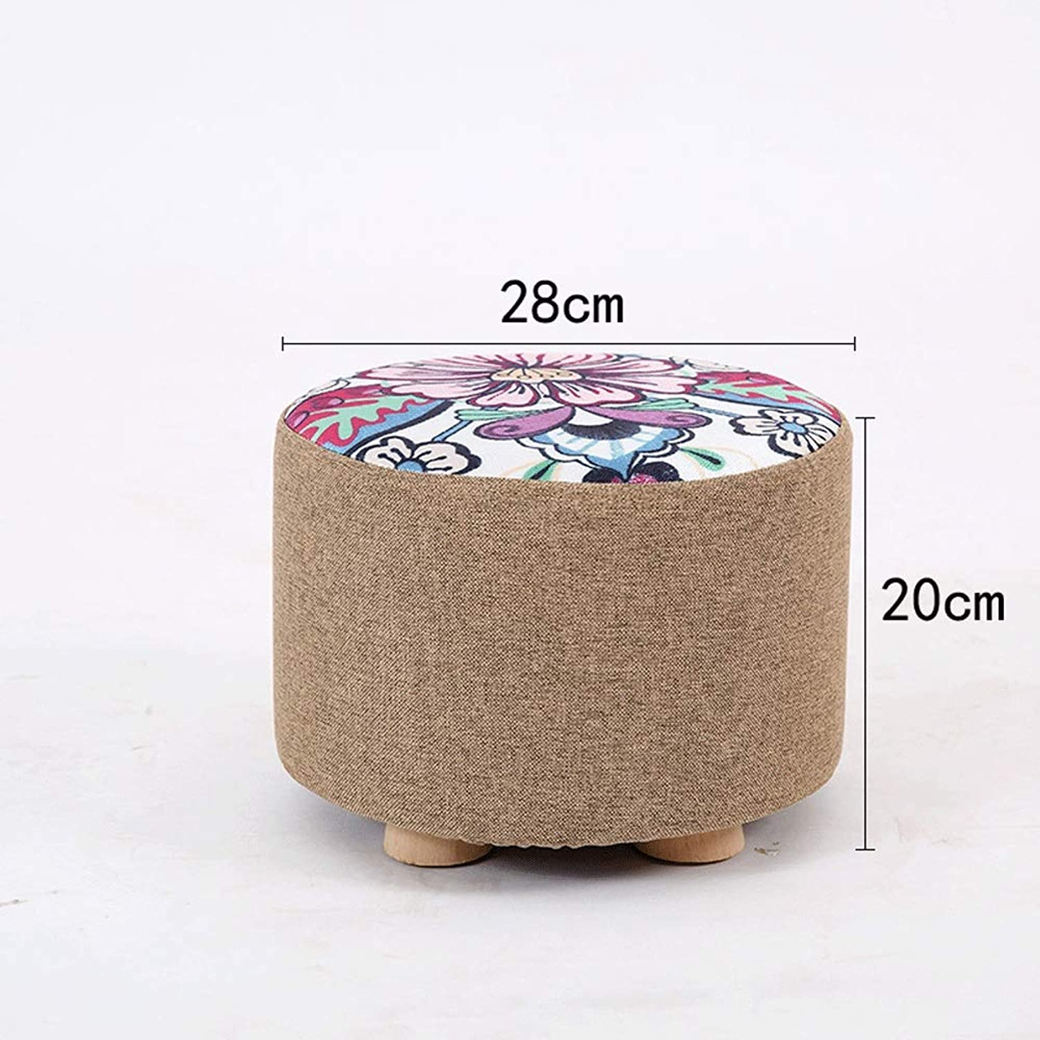 IhDFR Small Bench Solid Wood Home Change shoes Stool Fashion Creative Simple Living Room Bedroom Fabric Stool Washable Small Stool (color   C, Size   Short)