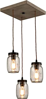 Farmhouse 3-Light Mason Jar Pendant Lights Vintage Glass Jar Ceiling Lighting