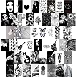 50pcs Black White Aesthetic Wall Collage Kit- Aesthetic Pictures Kit Collage Photo Display Kit for Teen Girls Bedroom Dorm Wall Decor