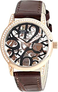 Venice V8086-IPR-C Crocodile embossed Leather Stones embellished Bezel Round Analog Watch for Women - Brown