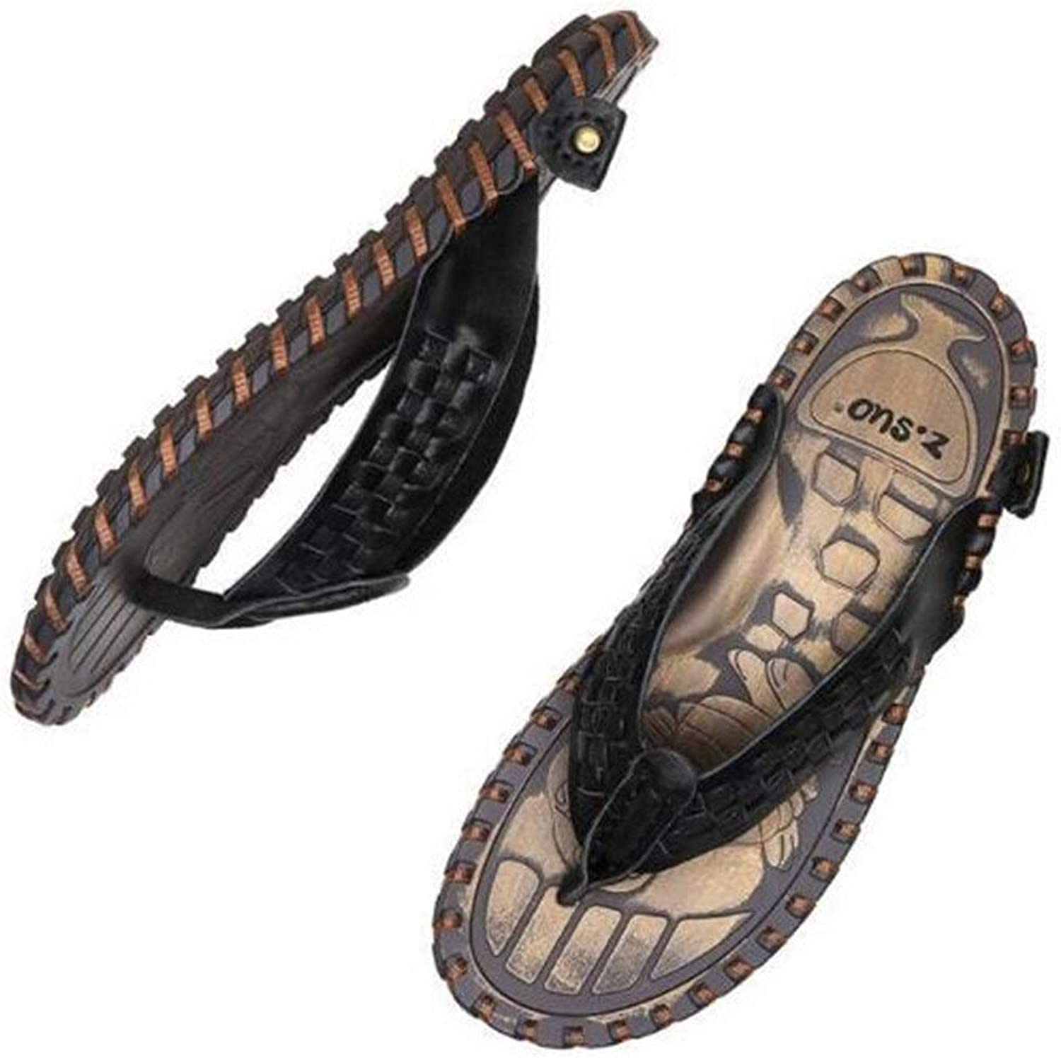 Men's Large Size Slippers, Woven Belt Casual Beach Slippers   Open Toe Slippers   Leather Upper   EVA Plastic Non-Slip Sole (color   Coffee, Size   40EU)