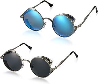 3b658fe699 Aroncent Gafa de Sol Polarizada contra UV400 Punk Rock Sunglasses Lente  Redonda Protección de Ojos para
