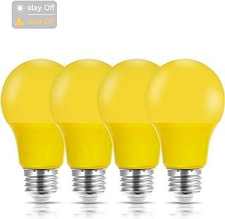 JandCase Dusk to Dawn Yellow Bug Light Bulbs, A19 Light Sensor LED Bulb, 40W Equivalent, 4W, Outdoor Front Porch Lights, E26 Medium Base, 4 Pack