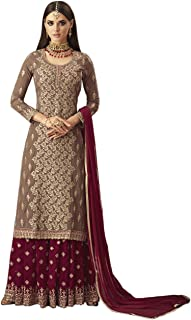 e941fcd7e2 Dresser Women's Faux Georgette Sharara Salwar Suit (MOHINI 57004, Beige,  Free Size)