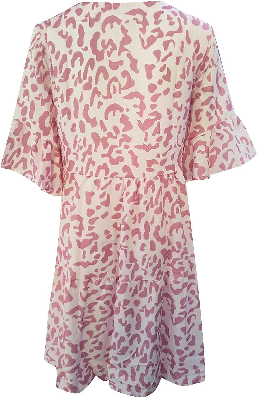 ESULOMP Women Casual V-Neck Mini Dress Sexy Ruffle Short Sleeve High Waist A-Line Ruffle Hem Pocket Short Dress