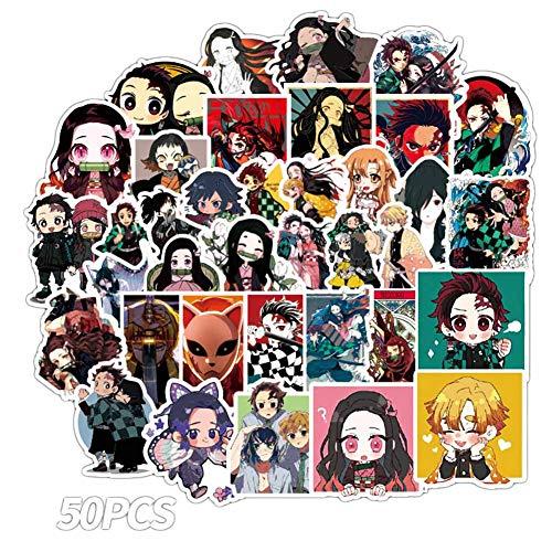 Lecheng Japanische Anime Figuren 50 Stücke Aufkleber Naruto,Dämonentöter,Dragon Ball,One Punch-man Graffiti-Abziehbilder für Auto Moto Skateboard Gepäck(Demon Slayer)