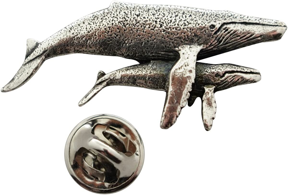Sarah's Treats & Treasures Humpback Whale with Baby Pin ~ Antiqued Pewter ~ Lapel Pin