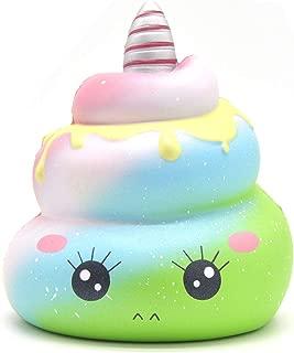 Kiibru Crazy Squishy Slow Rising Poo Unicorn Cartoon Scented Soft Jumbo Toys Stress Reliever Gift(Green)